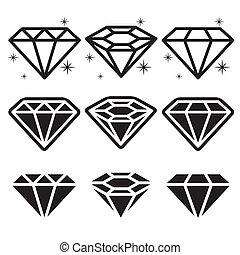 diamante, iconos, conjunto