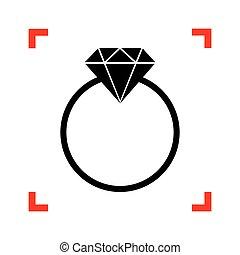 diamante, illustration., cantos, foco, sinal, pretas, branca, ícone