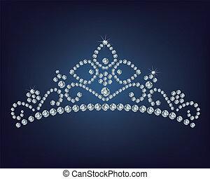diamante, ilustración, tiara, -, vector