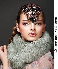 diamante, joyería, diadem., mujer, elegance., elegante, europeo