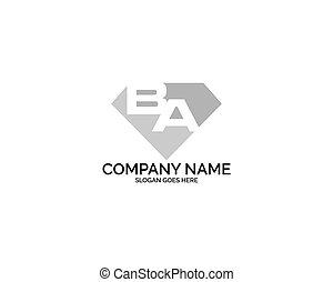 diamante, letras, ba, companhia, inicial, forma, desenho, logotipo, loja, jóia