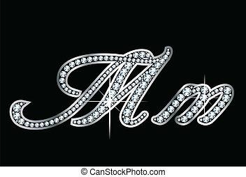 diamante, lettere, manoscritto, millimetro, bling, vec