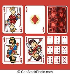 diamante, lleno, conjunto, traje, tarjetas, juego