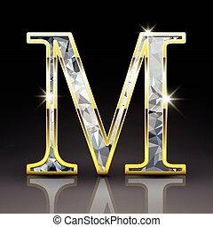 diamante, m, 3d, letra, deslumbrante