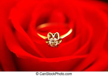 diamante, matrimonio, rosa, rosso, anello