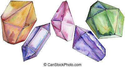 diamante, mineral., colorido, joyas, roca