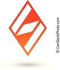 diamante, modellato, illustrazione, s, vettore, lettera, arancia, rosso