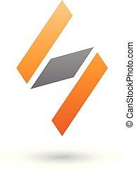 diamante, modellato, illustrazione, s, vettore, nero, lettera, arancia