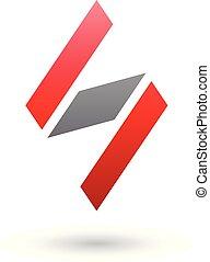 diamante, modellato, illustrazione, s, vettore, nero, lettera, rosso