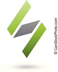 diamante, modellato, illustrazione, s, vettore, nero, lettera, verde