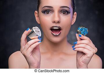 diamante, mulher jovem, anel, recebendo, proposta