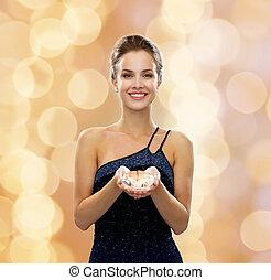 diamante, mulher, vestido, sorrindo, noite