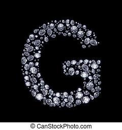 diamante, negro, carta,  3D