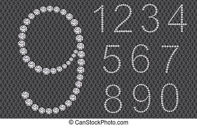 diamante, numero, set, da, 1, a, 9, ve
