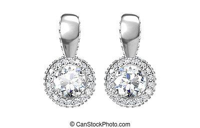 diamante, orecchini, rendering), stallone, bello, isolato, white(3d