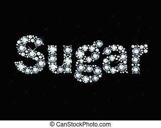 diamante, palabra, azúcar