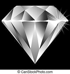 diamante, pretas, isolado