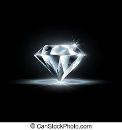 diamante, pretas, isolado, fundo