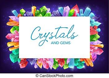 diamante, quarzo, cornice, vettore, ametista, cristalli