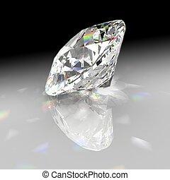 diamante, refrate, luz, com, gradiente, fundo