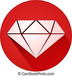 diamante, rosso, icona
