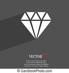 diamante, símbolo, apartamento, modernos, projeto teia, com, longo, sombra, e, espaço, para, seu, text., vetorial