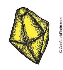 diamante, scarabocchiare, vettore, giallo