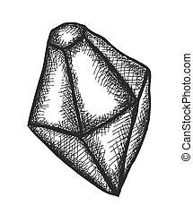 diamante, scarabocchiare, vettore, illustrazione