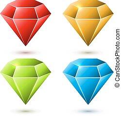 diamante, set, colorare, isolato, fondo., vettore, bianco