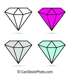 diamante, set, moda, costoso, illustrazione