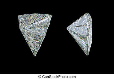 diamante, trillion, lato, taglio, nero, gemstone, o, vista