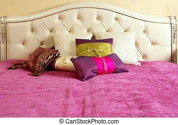 diamante, upholstery, cama, cabeça, cor-de-rosa, cobertor