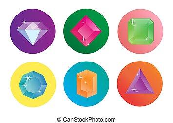 diamante, vettore, set, icone