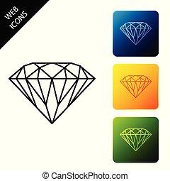diamante, vettore, stone., colorito, gemma, icona, simbolo., gioielleria, bianco, buttons., icone, illustrazione, fondo., quadrato, set, isolato