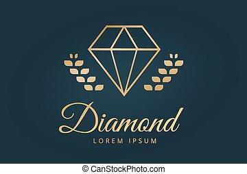 diamante, viejo, vendimia, plantilla, logotipo, icono
