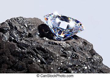 diamante, y, carbón
