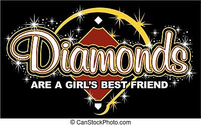 diamanter, flicka, vän, bäst