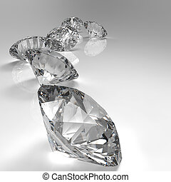 diamanter, isolerat, vit