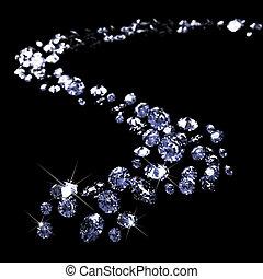 diamantes, dispersión, negro, a través de, terreno