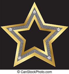 diamantes, dourado, vetorial, estrela