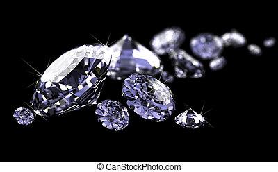 diamantes, en, negro, superficie