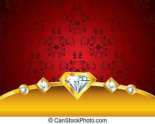diamantes, luxo, fundo, vermelho