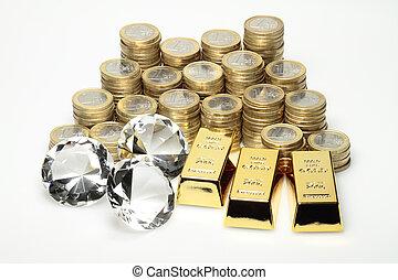 diamantes, moedas, ouro, euro