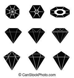 diamantes, pretas, vetorial, ilustração