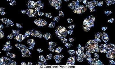 diamantes, queda, de, a, topo, looping, animação 3d
