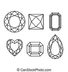 diamantes, wireframe, blanco, plano de fondo