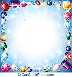 diamantes, y, piedras preciosas, vector, marco
