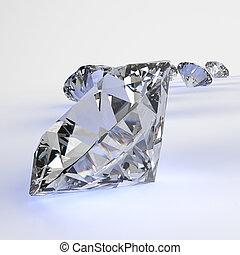 diamanti, isolato, bianco, 3d, modello, composizione, concetto