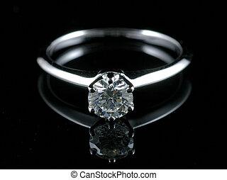 diamantring, mit, reflexion