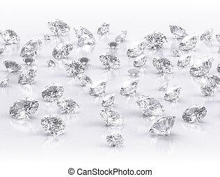 diamants, grand groupe, blanc, fond